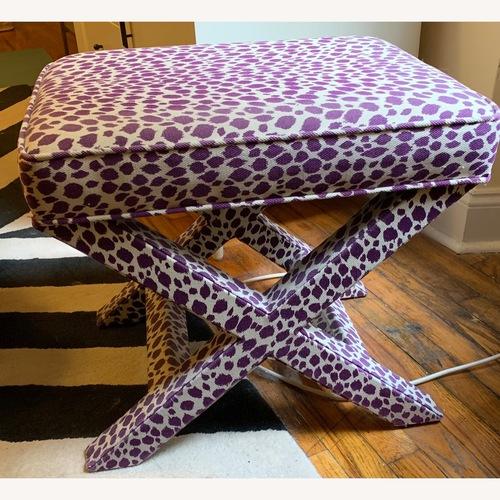 Used Saks Fifth Ave Purple & white Zebra Print Ottoman for sale on AptDeco