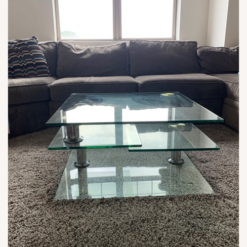 Used Vector Square Glass Coffee Table for sale on AptDeco