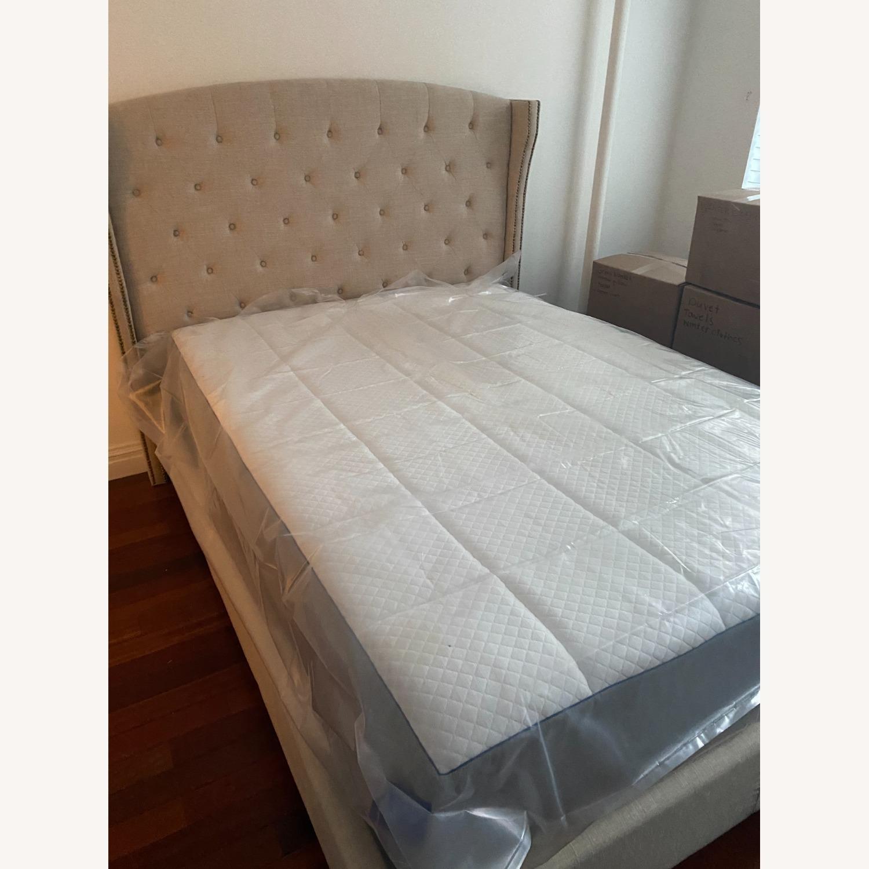 Wayfair Full Cream Upholstered Headboard and Bed - image-1