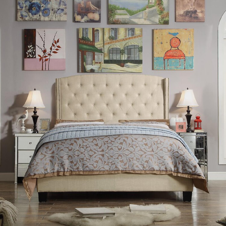 Wayfair Full Cream Upholstered Headboard and Bed - image-4