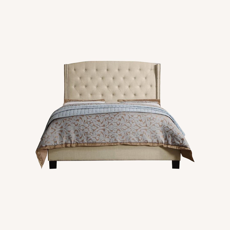 Wayfair Full Cream Upholstered Headboard and Bed - image-0
