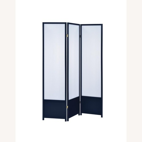 Used 3-Panel Translucent Screen In Black Wood Finish for sale on AptDeco