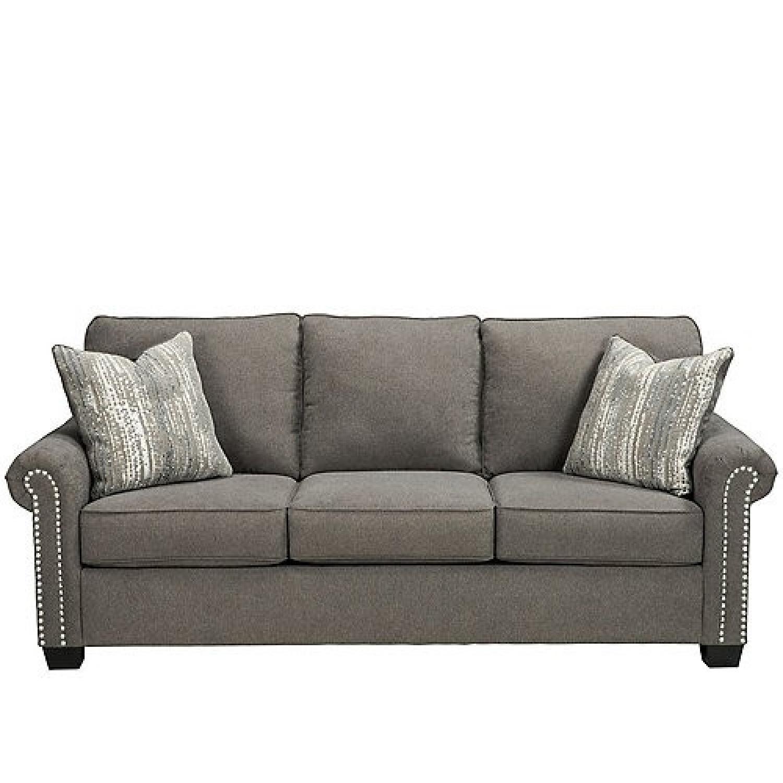 Raymour & Flanigan Grey Chenille Sofa - image-1
