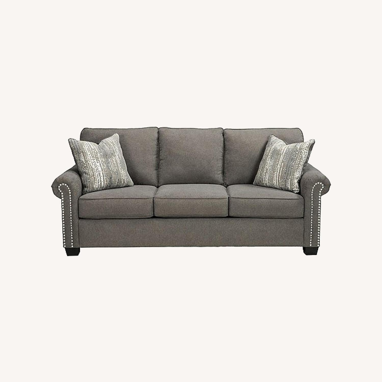 Raymour & Flanigan Grey Chenille Sofa - image-0