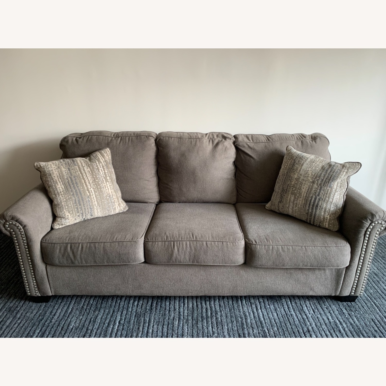 Raymour & Flanigan Grey Chenille Sofa - image-3