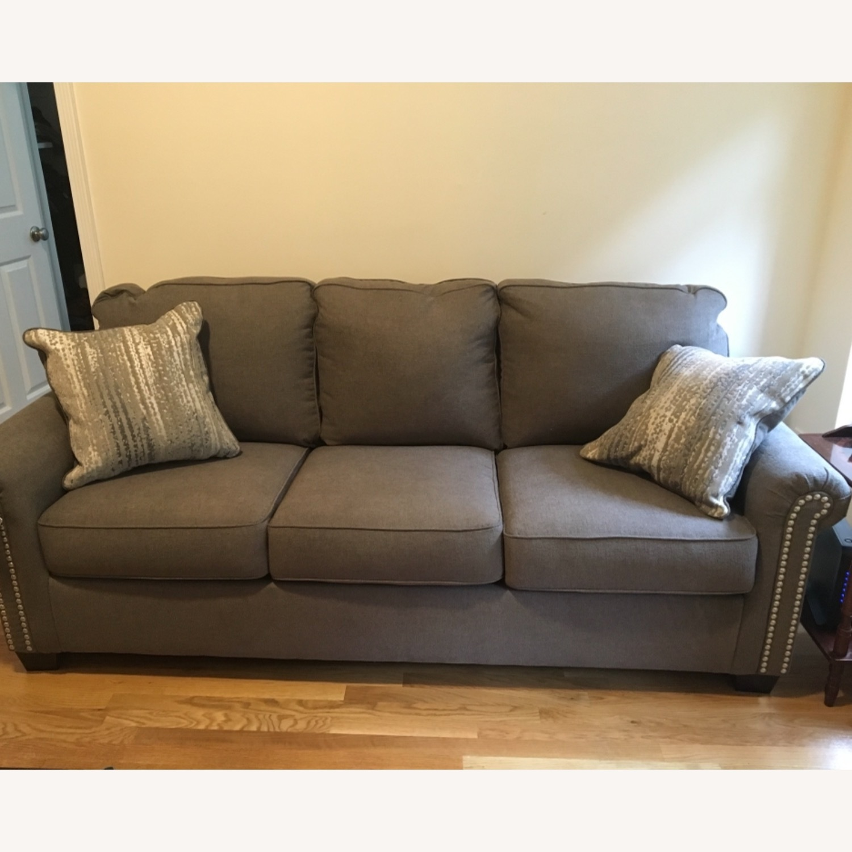 Raymour & Flanigan Grey Chenille Sofa - image-2