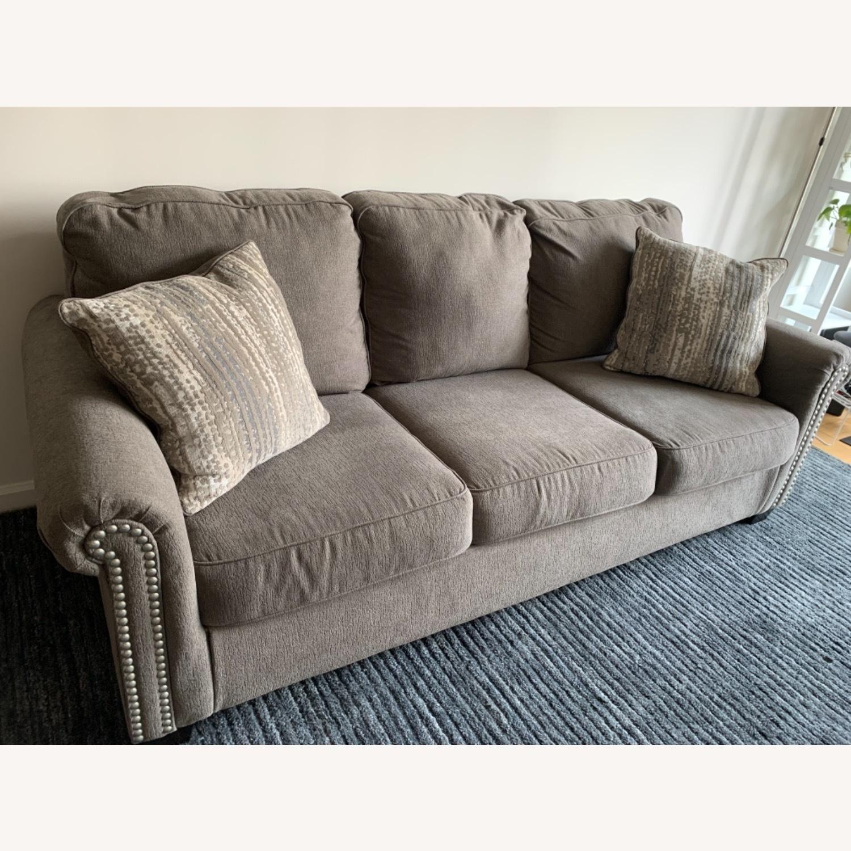 Raymour & Flanigan Grey Chenille Sofa - image-4