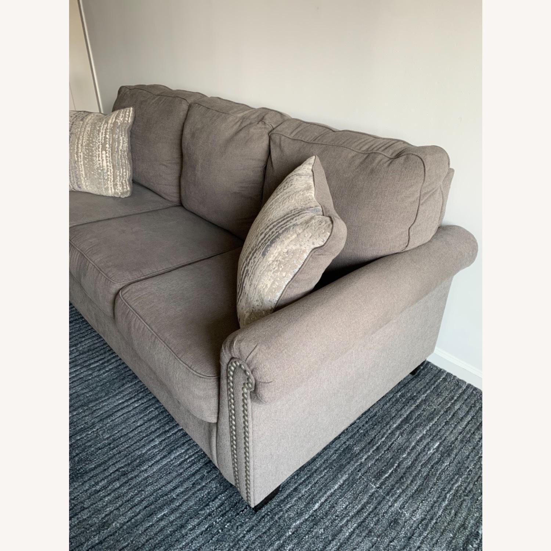 Raymour & Flanigan Grey Chenille Sofa - image-6