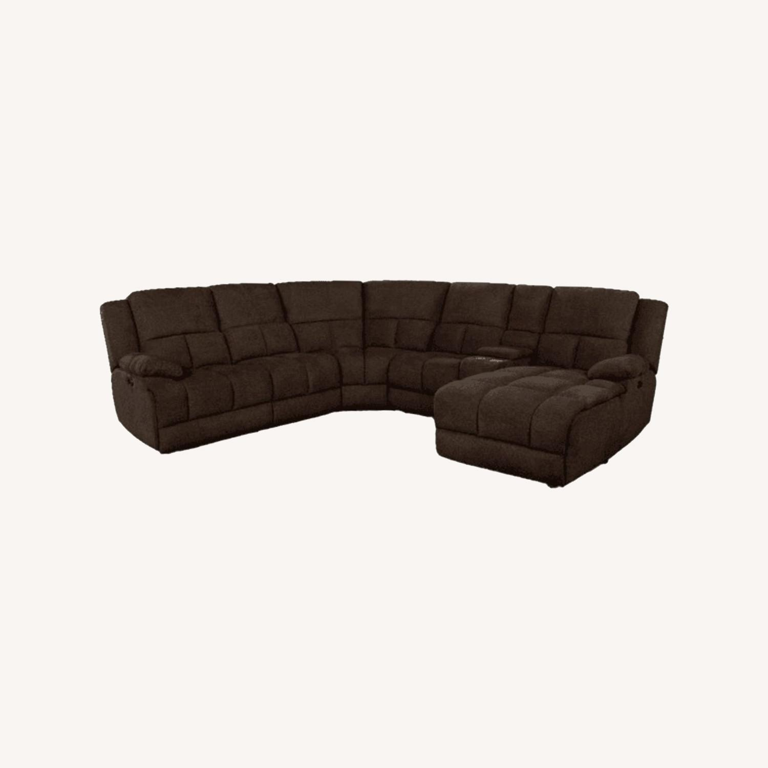 6Piece Power Sectional In Brown Performance Fabric - image-14