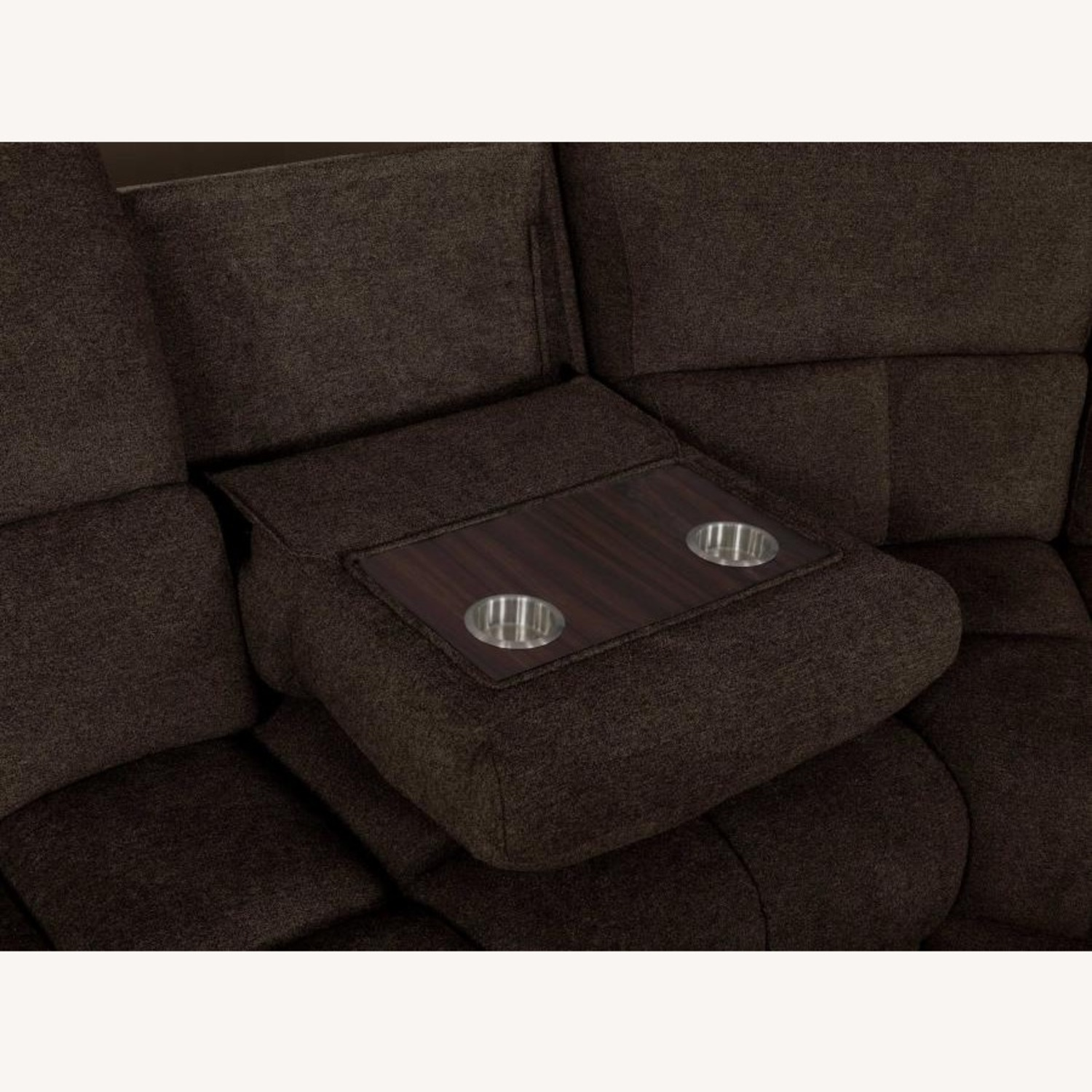 6Piece Power Sectional In Brown Performance Fabric - image-8