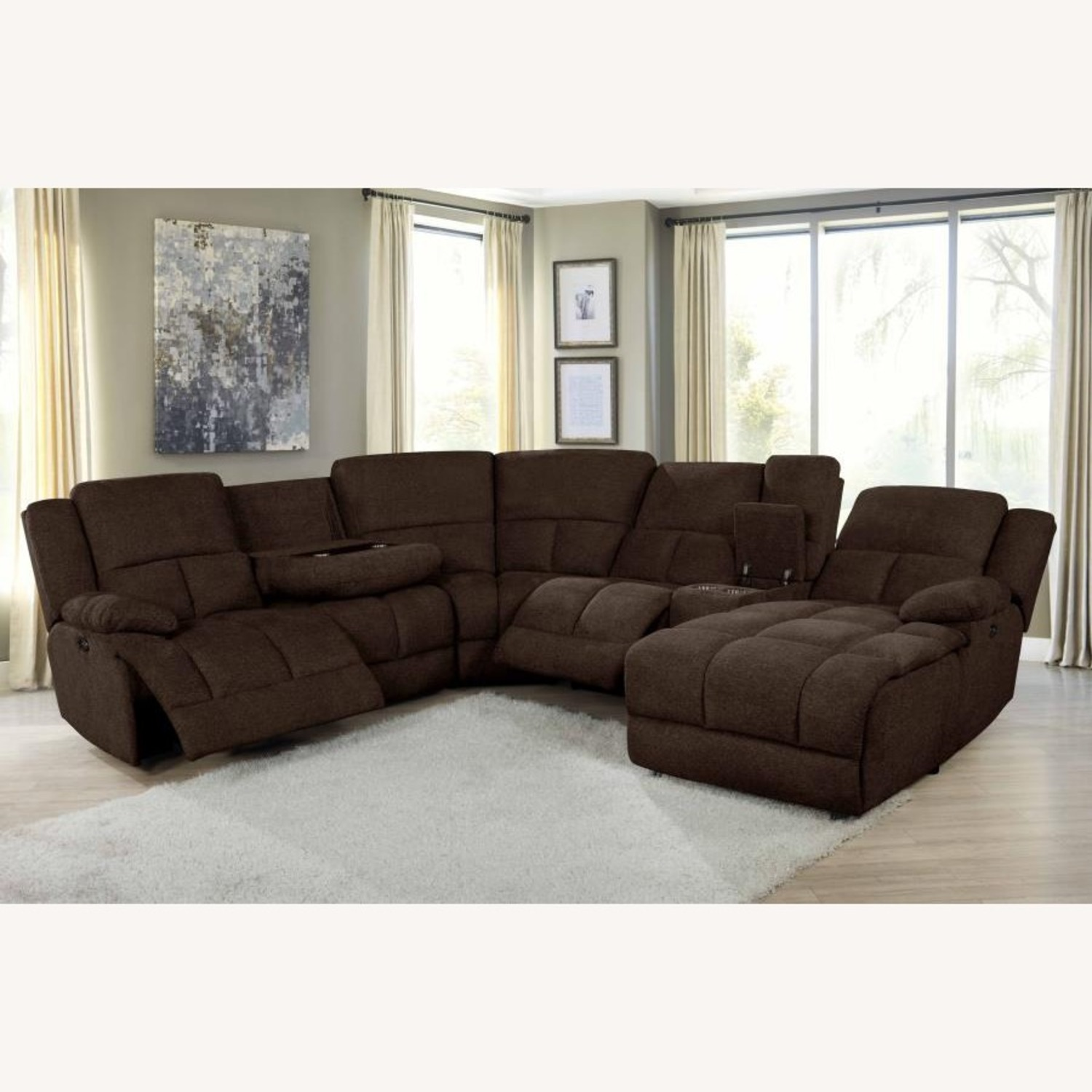 6Piece Power Sectional In Brown Performance Fabric - image-13