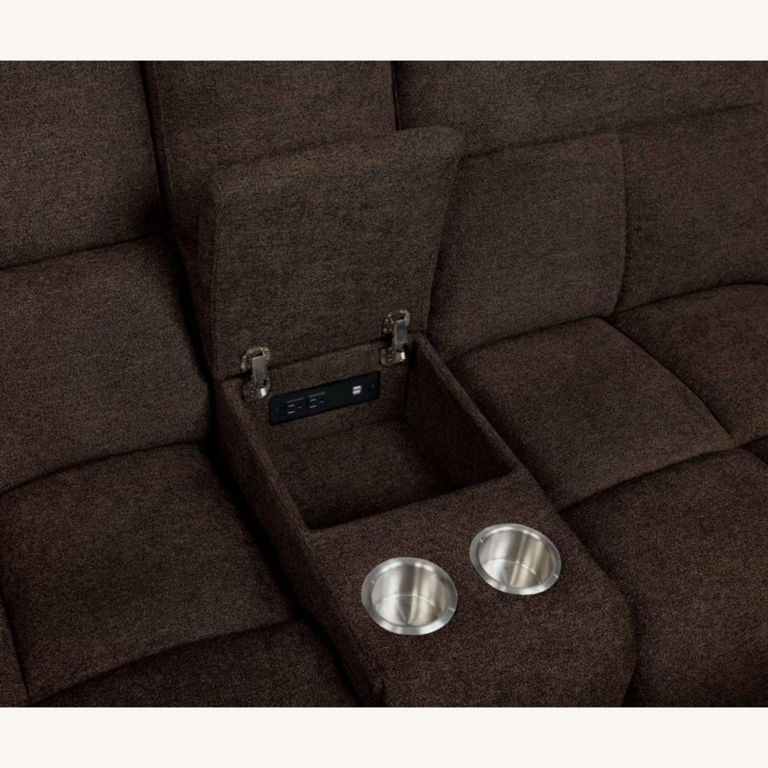 6Piece Power Sectional In Brown Performance Fabric - image-9