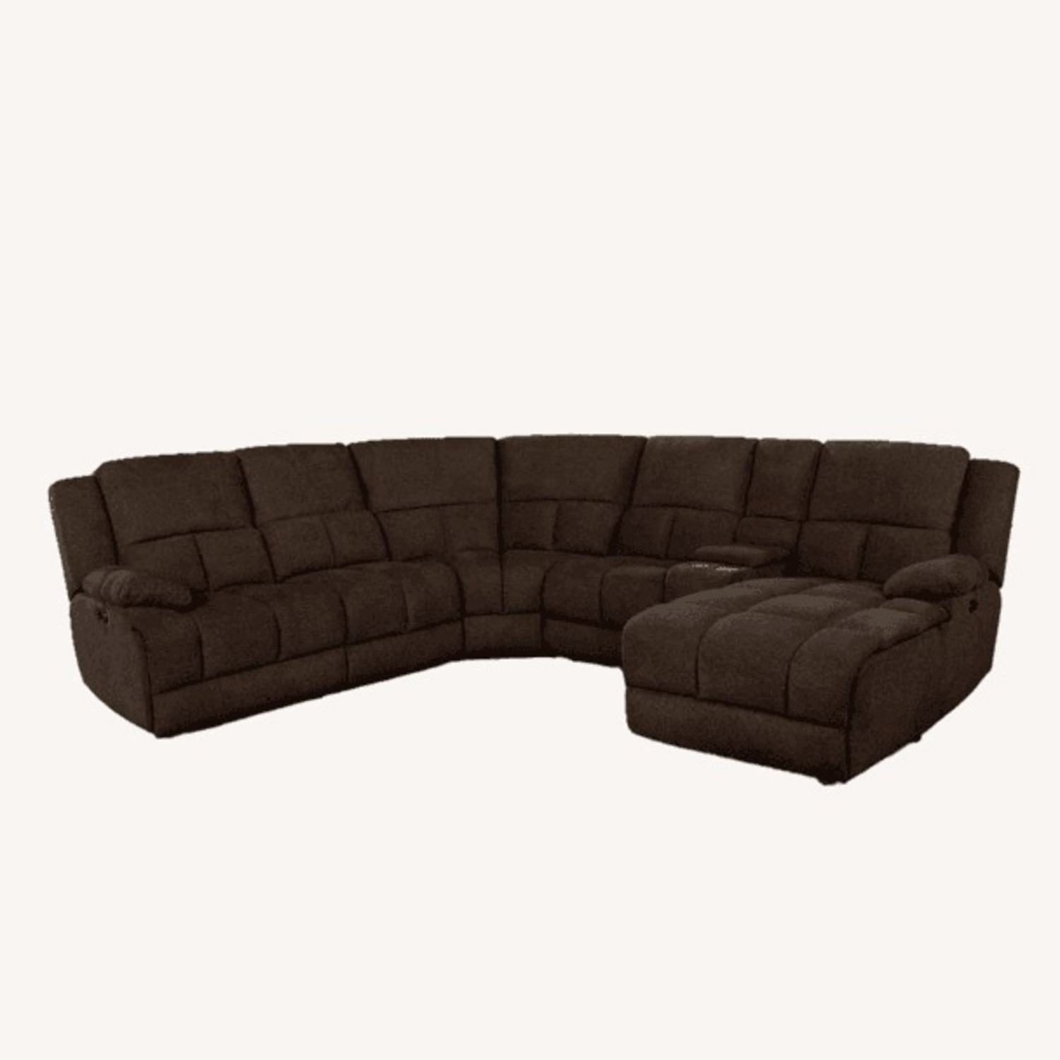 6Piece Power Sectional In Brown Performance Fabric - image-1