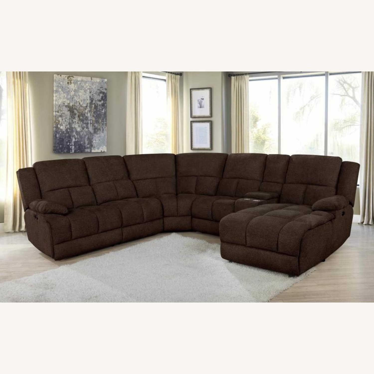 6Piece Power Sectional In Brown Performance Fabric - image-0