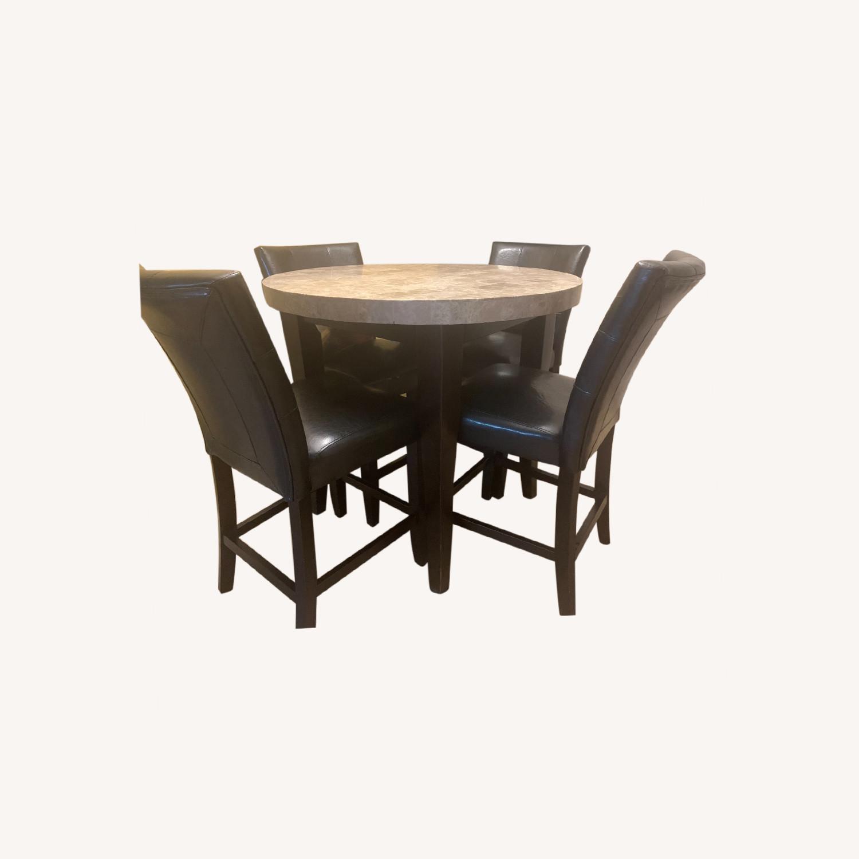 "Montibello Marble 40"" Round 5-Piece Dining Set - image-0"