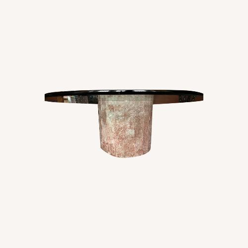 Used Taylor Made Custom Pink Veined Marble Round Coffee Table for sale on AptDeco