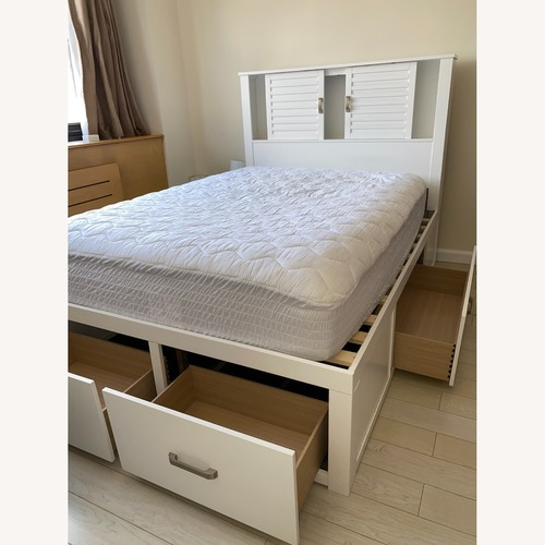 Used Bob's Discount Dalton Full Size White Storage Bed for sale on AptDeco