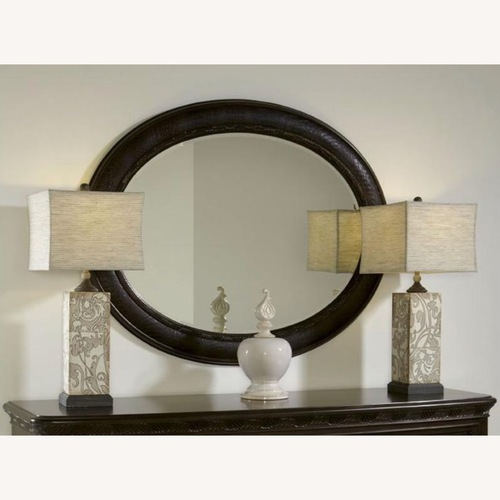 Used American Drew Leather & Dark Wood Mirror for sale on AptDeco