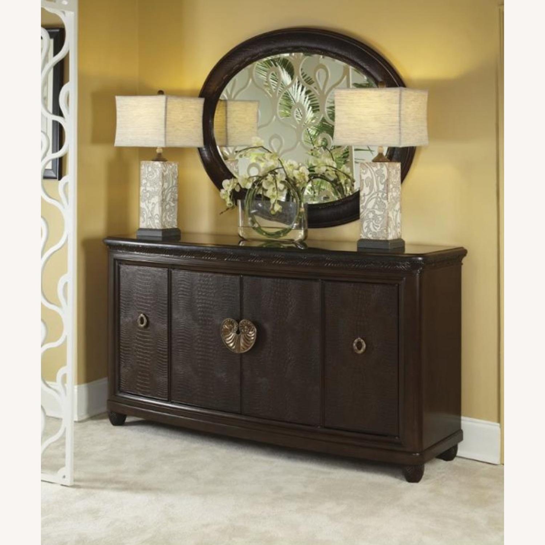 American Drew Leather & Dark Wood Mirror - image-4