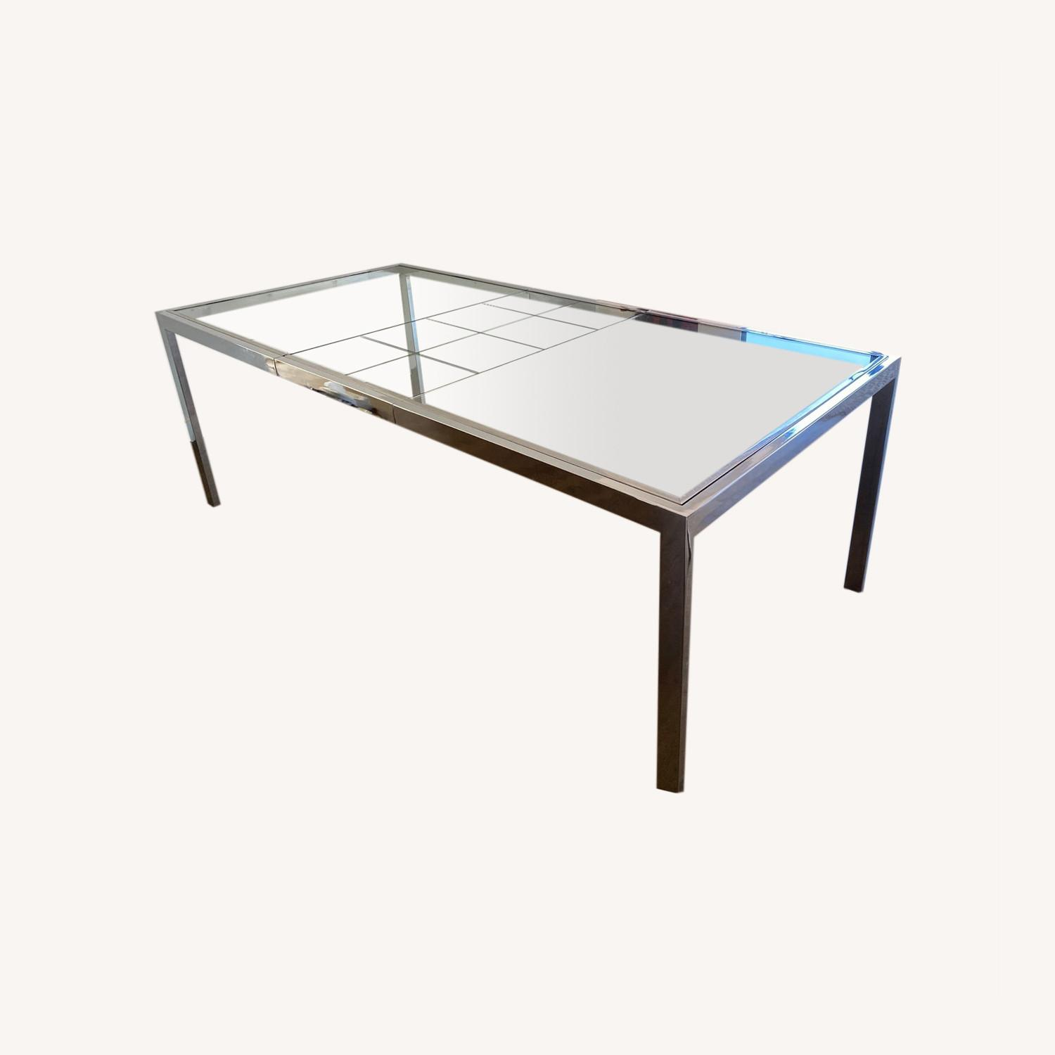 Mid-Century Glass and Chrome Extendable Table - image-0