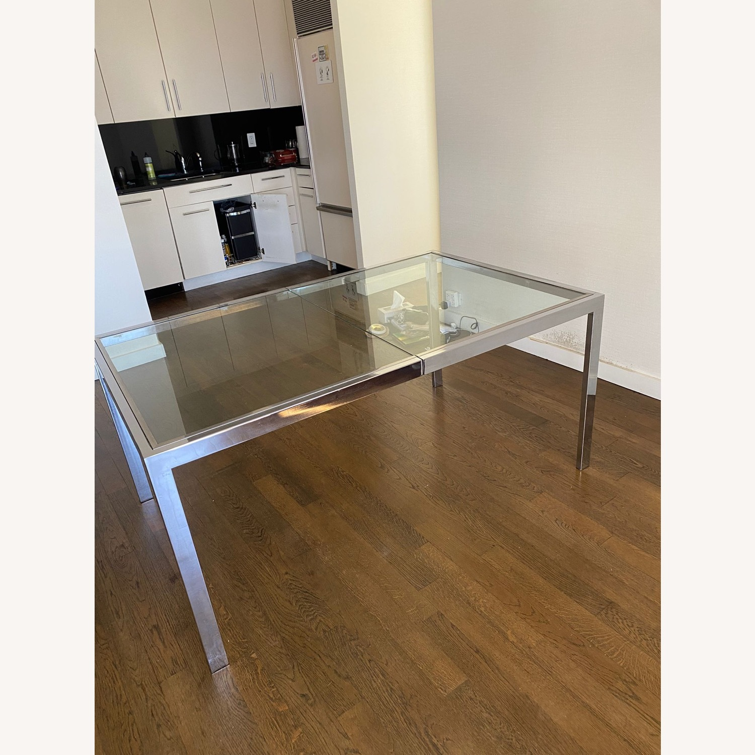 Mid-Century Glass and Chrome Extendable Table - image-5