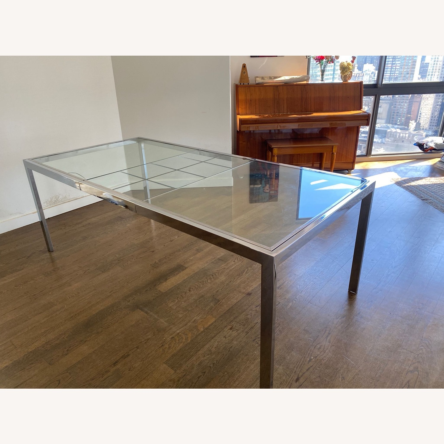Mid-Century Glass and Chrome Extendable Table - image-2