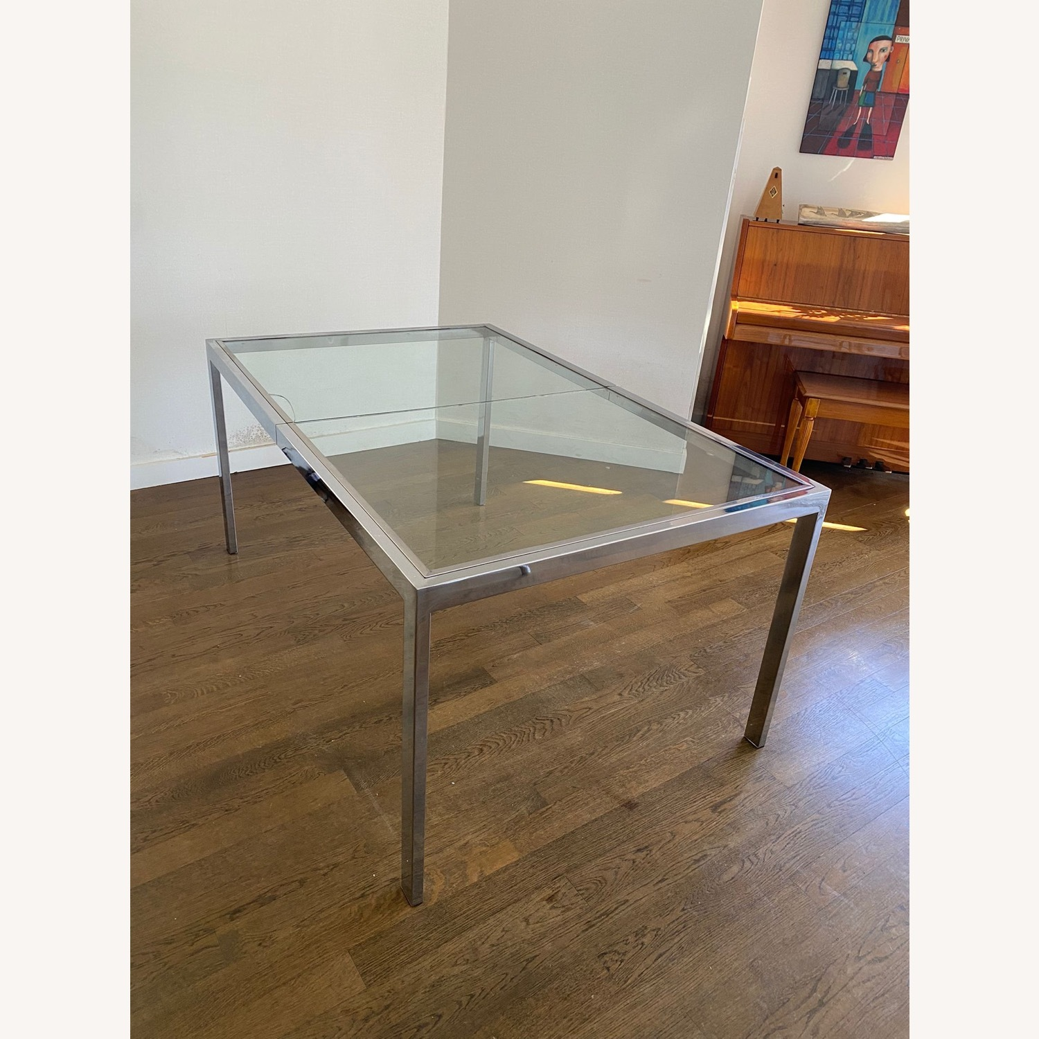 Mid-Century Glass and Chrome Extendable Table - image-6