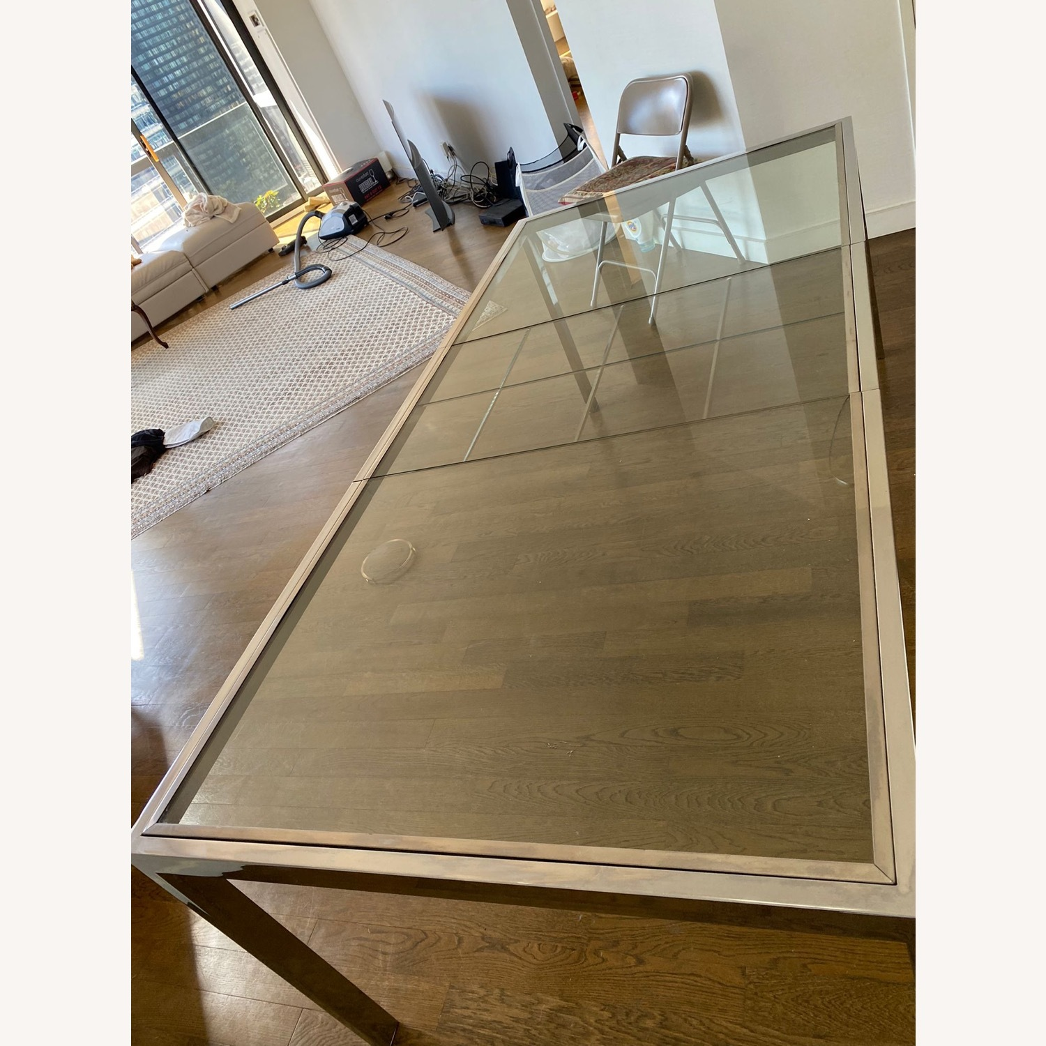 Mid-Century Glass and Chrome Extendable Table - image-3