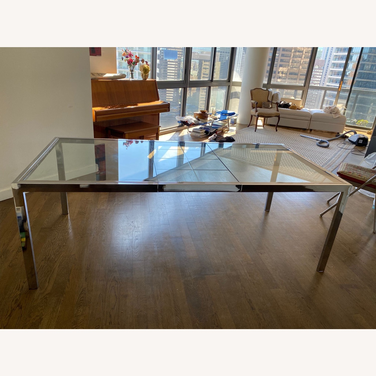 Mid-Century Glass and Chrome Extendable Table - image-1