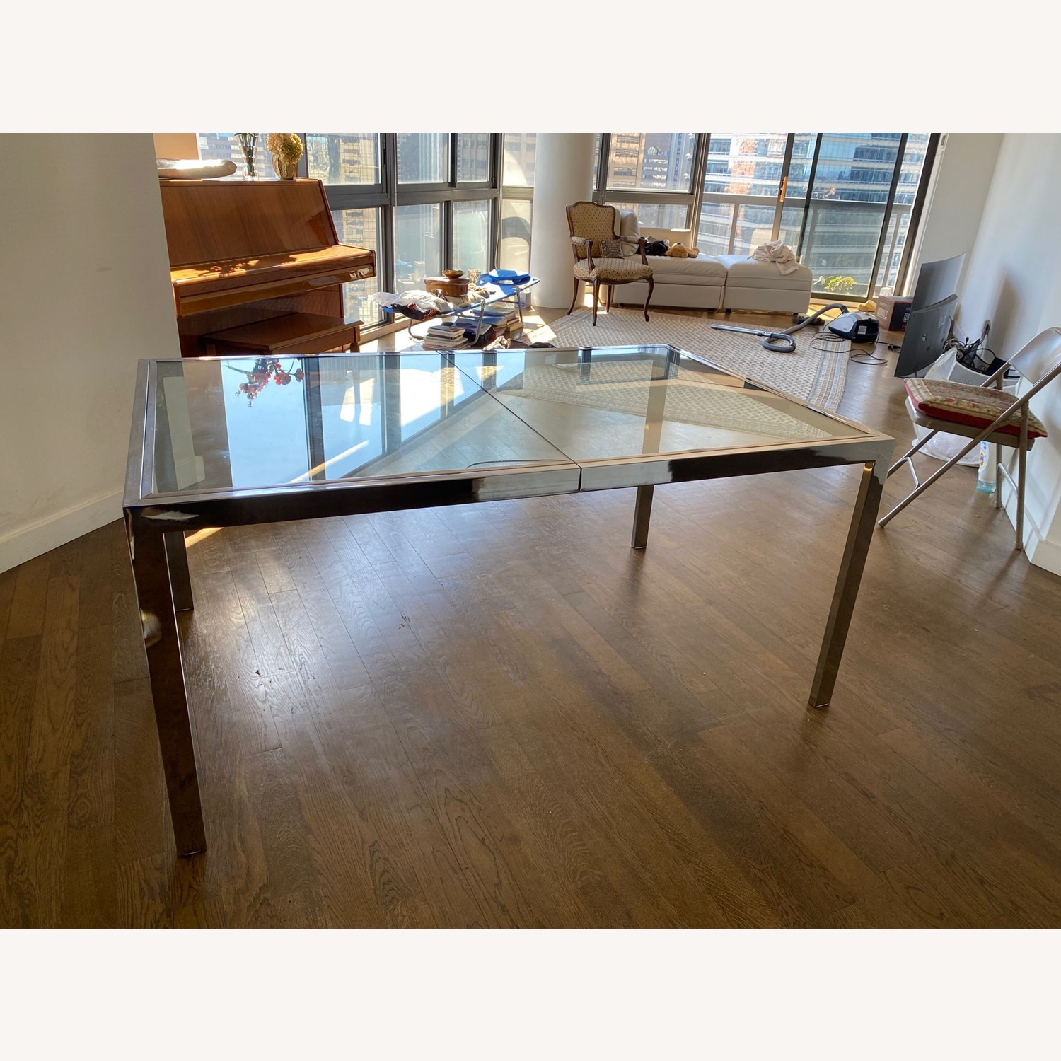 Mid-Century Glass and Chrome Extendable Table - image-4