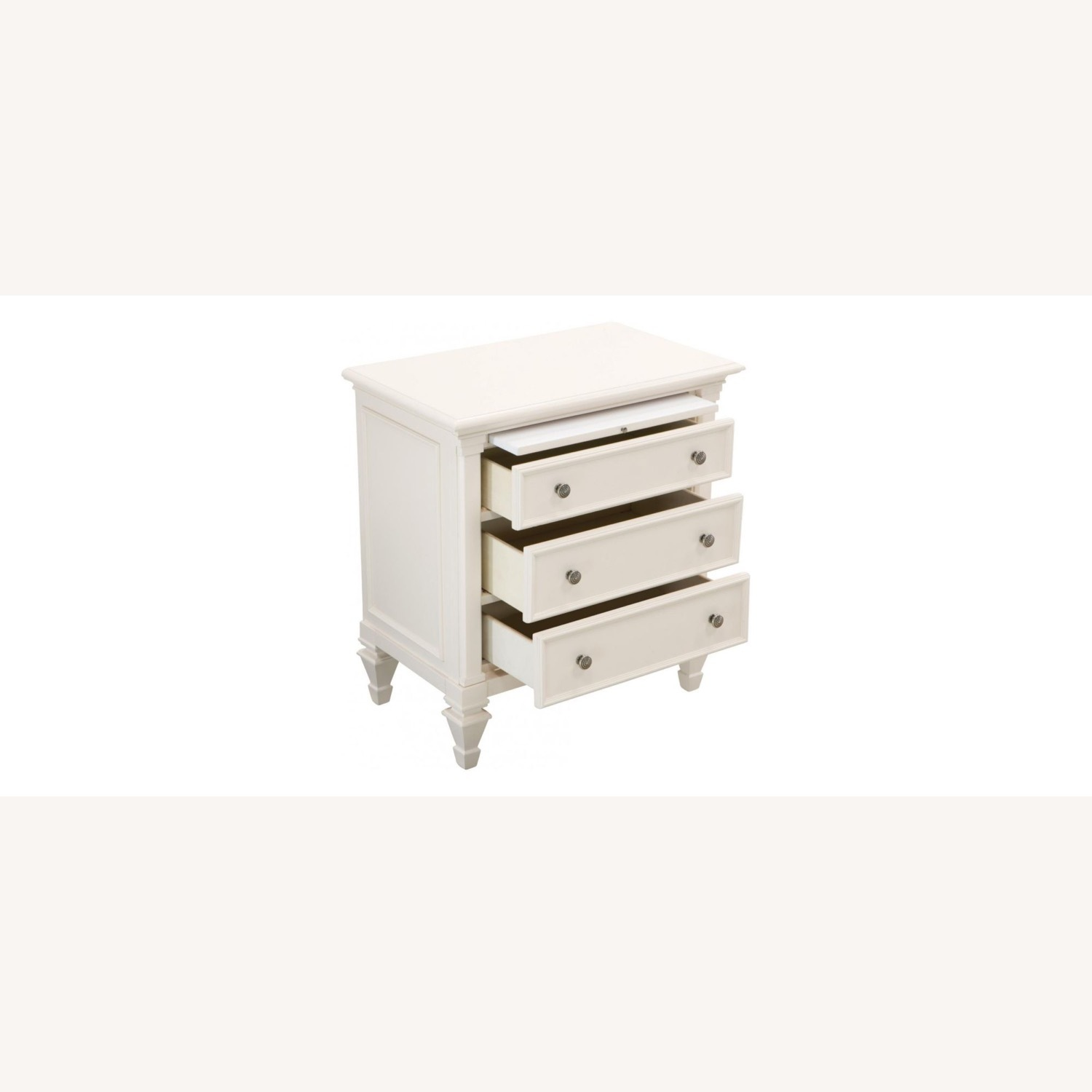 Raymour & Flanigan Two (2) Off White Nightstand Tables - image-1