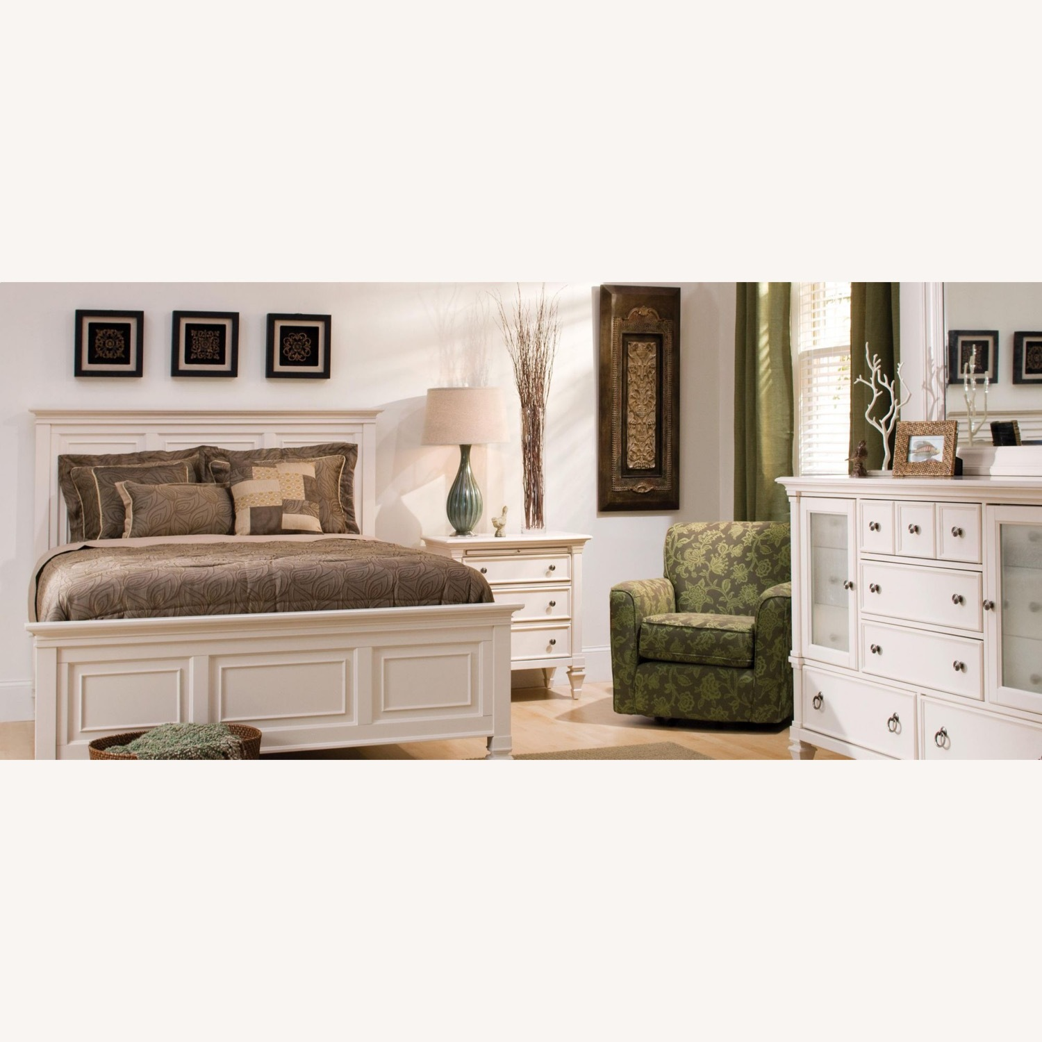 Raymour & Flanigan Two (2) Off White Nightstand Tables - image-2