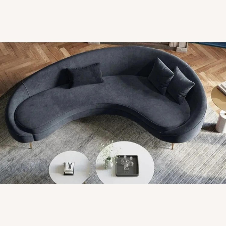 Light Grey Velvet Sofa - image-3