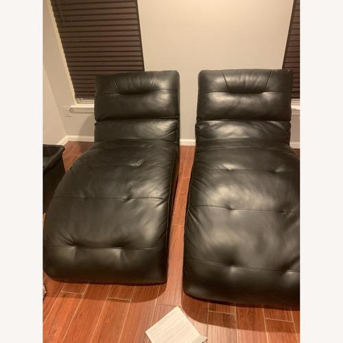 Used Bob's Black Leather Logan Chaise for sale on AptDeco