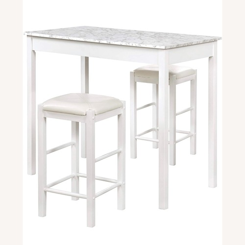 Used 3 Piece Faux Marble Tavern Kitchen Table Set for sale on AptDeco