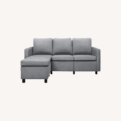 Used Feather L-Shaped Couch 3-seat Modern Fabric for sale on AptDeco