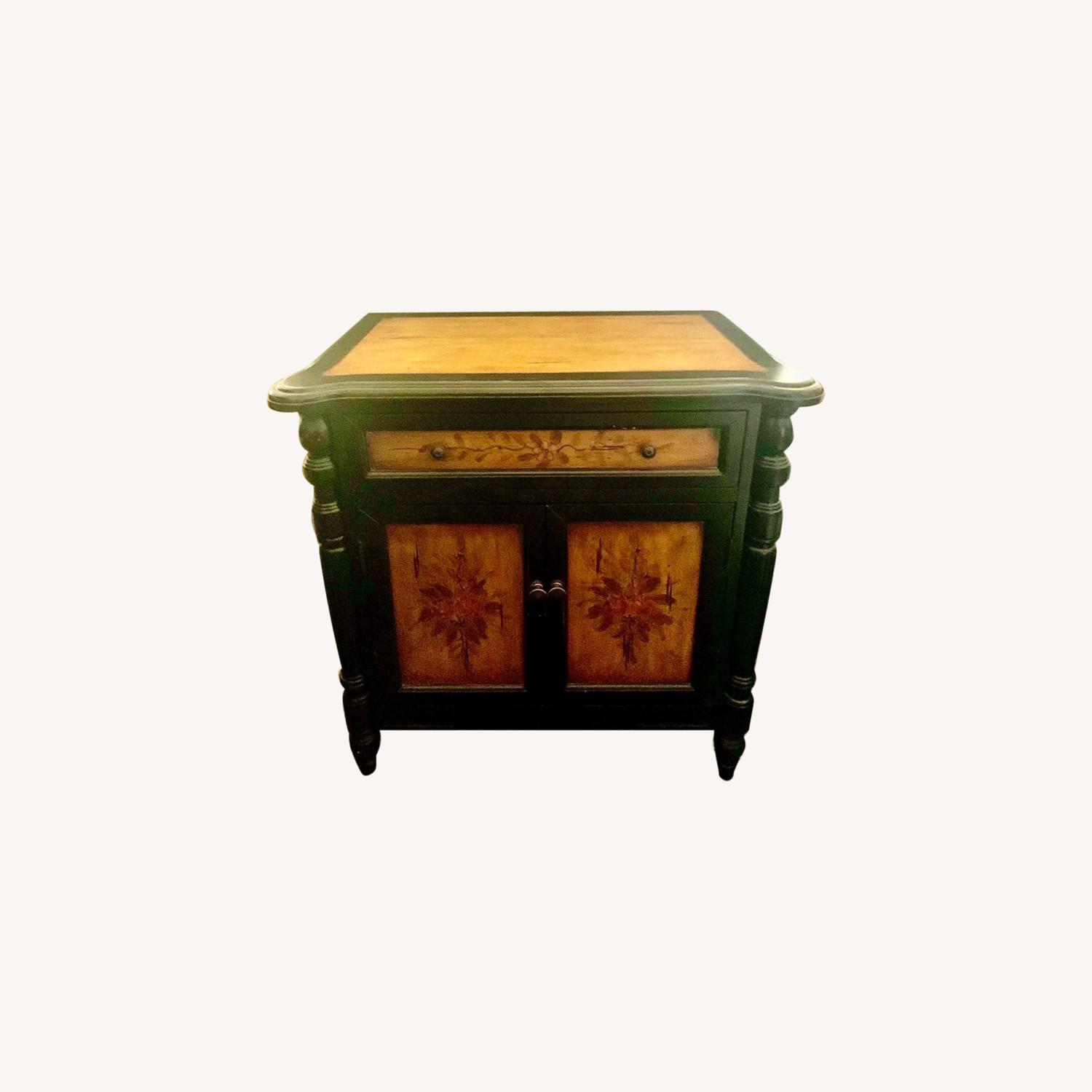 Hand-Painted Floral Accented Stein World Cabinet - image-0