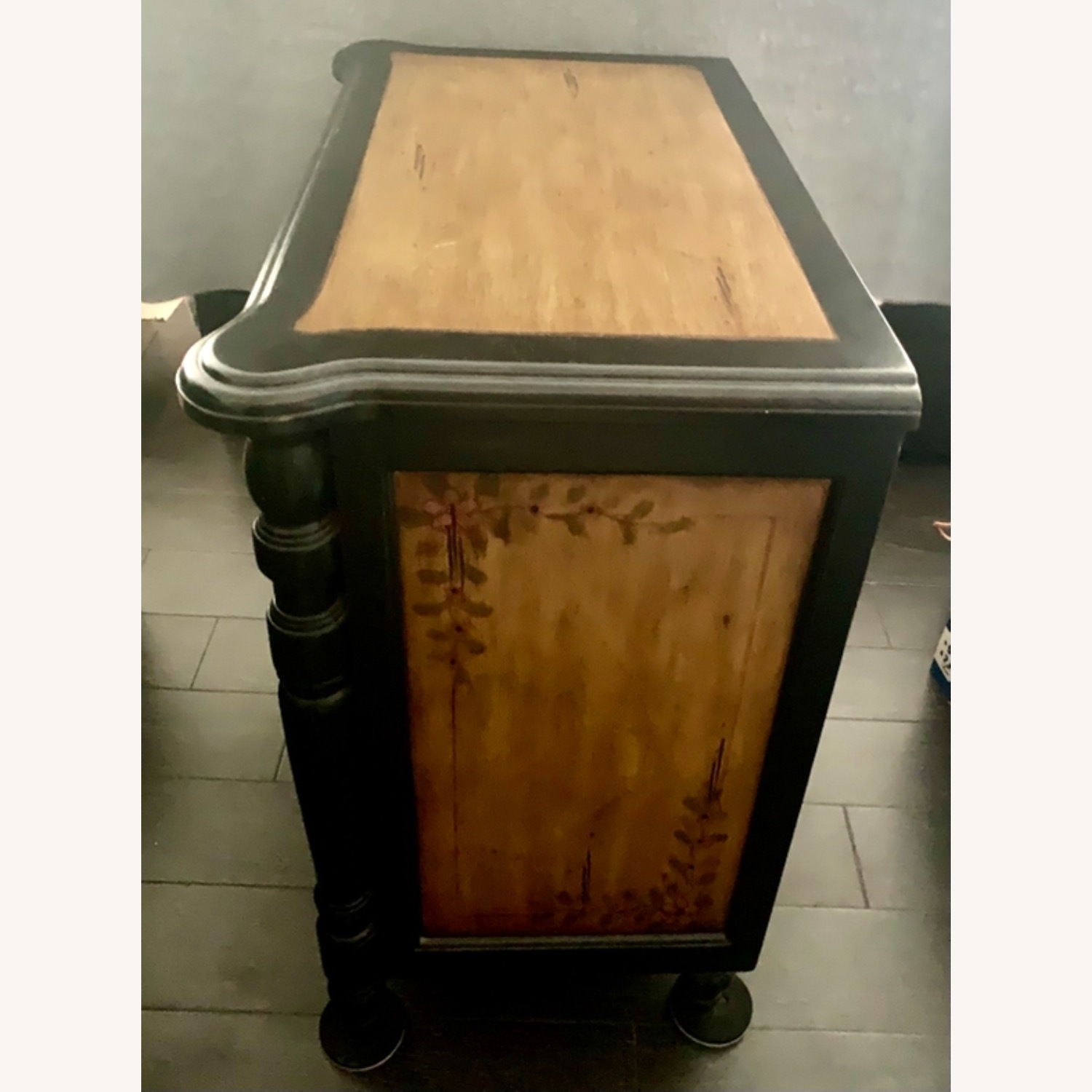 Hand-Painted Floral Accented Stein World Cabinet - image-1