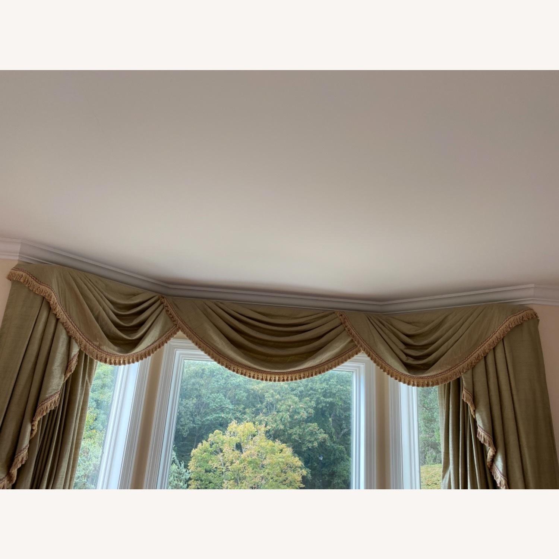 Vintage Light Olive Silk Bay Window Valance - image-2