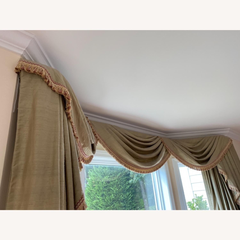 Vintage Light Olive Silk Bay Window Valance - image-4