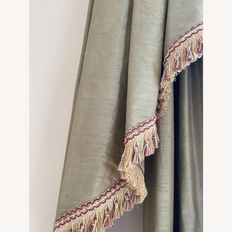 Vintage Light Olive Silk Bay Window Valance - image-7