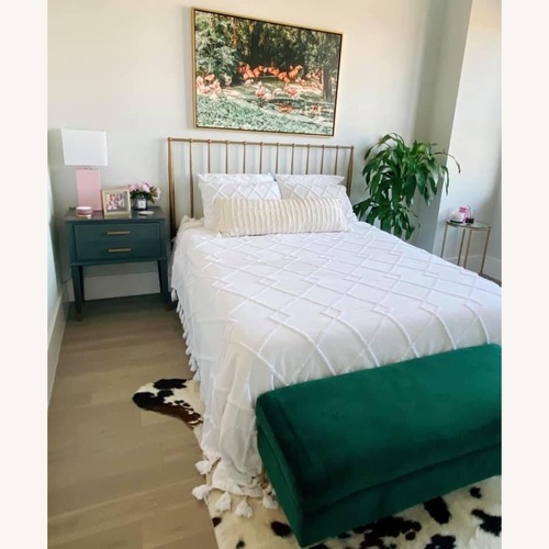 Used Wadw Logan Gold Metal Platform Bed for sale on AptDeco
