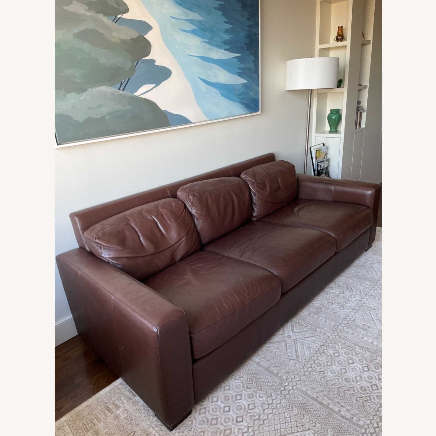 -Design Within Reach Dark Brown Leather Couch - image-2