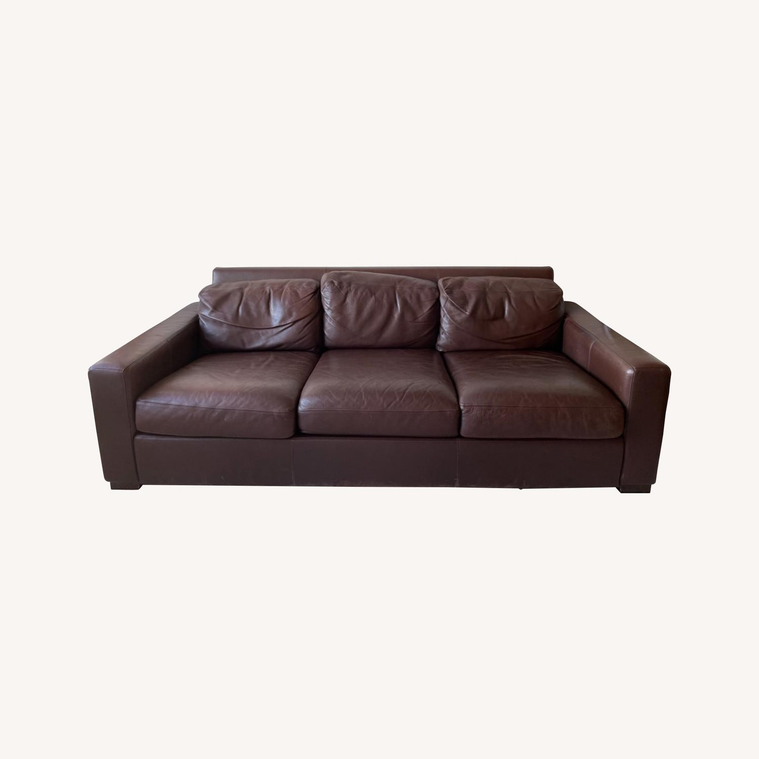 -Design Within Reach Dark Brown Leather Couch - image-7