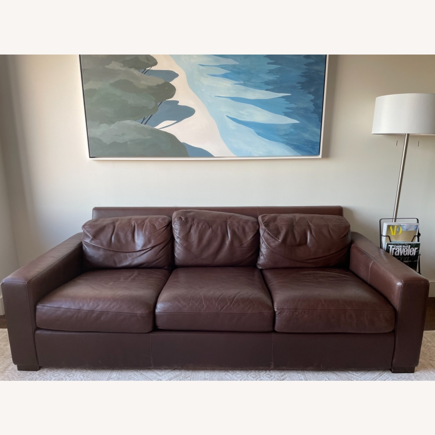 -Design Within Reach Dark Brown Leather Couch - image-0