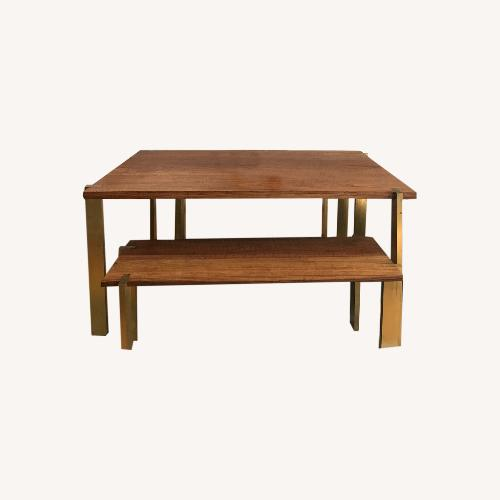 Used Taylor Made Custom Brass and Walnut Extension Dining Set for sale on AptDeco