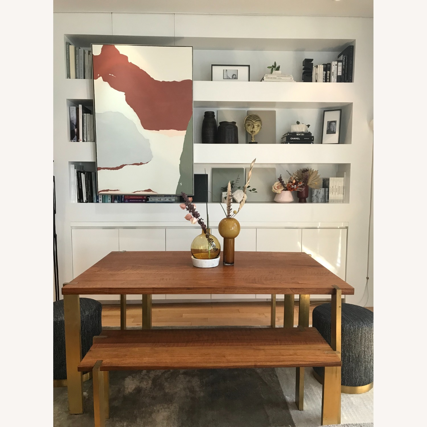 Taylor Made Custom Brass and Walnut Extension Dining Set - image-1