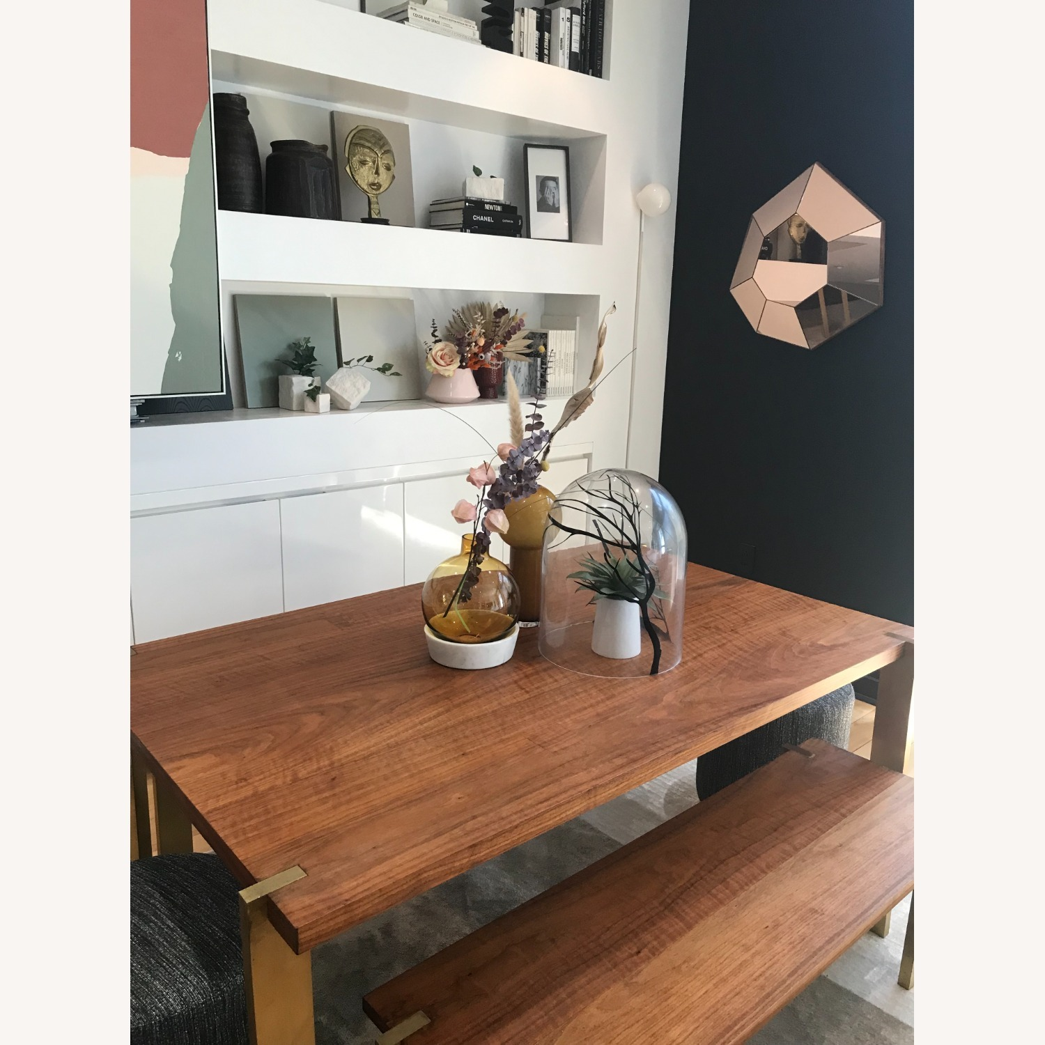 Taylor Made Custom Brass and Walnut Extension Dining Set - image-2