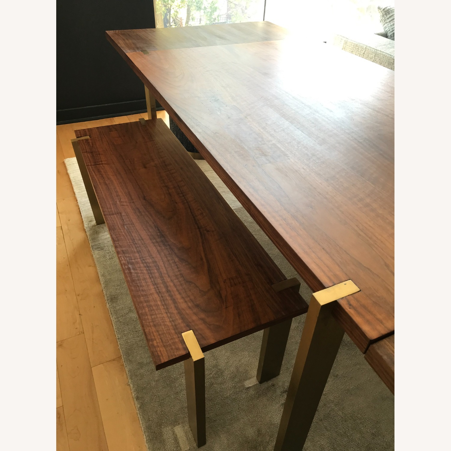 Taylor Made Custom Brass and Walnut Extension Dining Set - image-3