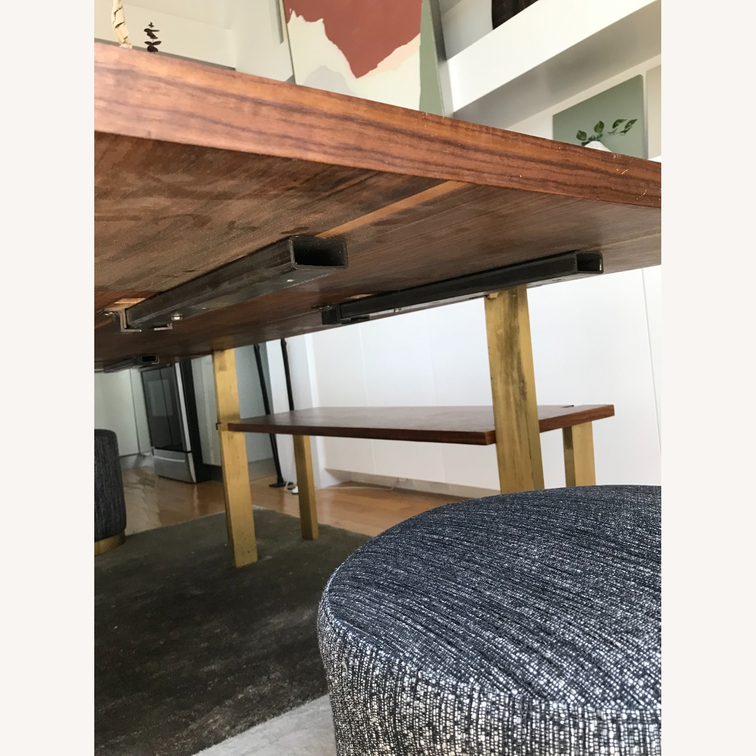 Taylor Made Custom Brass and Walnut Extension Dining Set - image-12